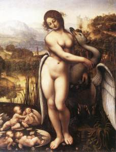 "Copy by Cesare da Sesto (1505-10) of  Leonardo da Vinci's  ""Leda and the Swan""  also called ""the lost painting."" is one of history's great art losses.  The original of this is lost, probably deliberately destroyed, and was last recorded in the French royal Château de Fontainebleau in 1625."